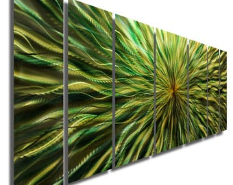 Extra Large Green Abstract Metal Wall Painting, Modern Metal Wall Art, Home & Office Decor, Indoor Outdoor - Green Vortex XL by Jon Allen