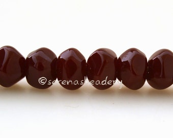 Lampwork Glass Beads Nugget Rocks DARK RED Tiny Handmade TANERES sra faceted