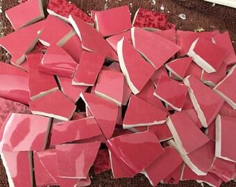 Mosaic Tiles Broken Plate Tesserae HOt Pink Solid Color Tile  Mix 100