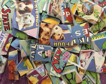 100 Mosaic Tiles Retro Ads Vintage Labels Broken Plate Tile Art Supply Animal Crate Ads Fruit Mix Tesserae 100