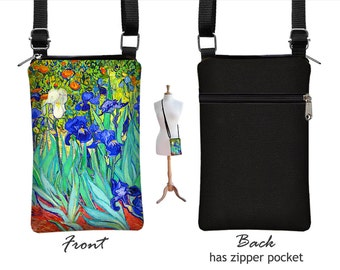 iPhone 6 Plus Case,  Cell Phone Case for iPhone 6,  Van Gogh Irises , Fabric  Phone Purse, Small Crossbody Bag,  blue orange turquoise  MTO