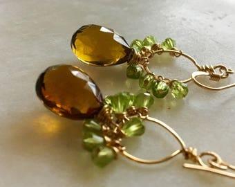 Smoky Topaz and Peridot Earrings, Topaz Earrings, Peridot Cluster Earrings, Gold Circle Earrings, Gemstone Earrings, Cluster Earrings