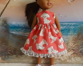 SALE 14 and 14.5 Inch Doll Clothes Dress Fluffy White Puppies on a Coral Pink Background Fits Dolls like H4H and Wellie Wishers