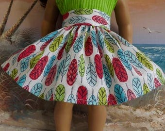 18 Inch Doll Skirt Bright Feather Tribal Print Pink Turquoise Lime Very Gathered New Item Spring 2017