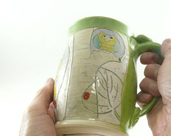 Large Pottery Mug with aspen tree art, holds 18 ounces,  Large Coffee Cup, Tea mug, teacup, Tankard Stein, Pencil holder, Gifts for him 652