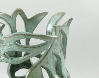 Lotus Flower Porcelain Vase,  Candle holder, Votive or Tea Light Candleholder, Artistic Ceramic Vessel,  Sculptured Art Vase, Bedroom Decor