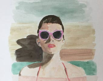 original acrylic watercolor painting 9x12, woman in pool figurative woman wearing sunglasses