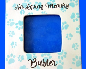 Personalized Ceramic Pet Frame with paw prints and name memorial new pet dog or cat