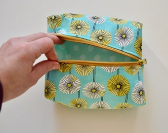 Boxy Cosmetic Pouch - Zipper Pouch - Aqua Zipper Pouch - Toiletry Bag - Gift for Girls - Gifts for Teen Girls - Zip Pouch