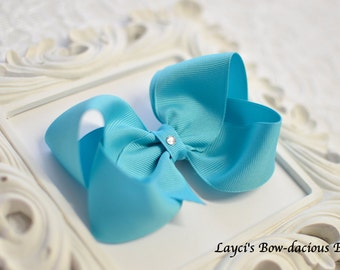 Modern Turquoise Boutique Hair Bow, 4 sizes, small, medium, large, extra large - baby girl bows - toddler bows - girls bows - no slip bows
