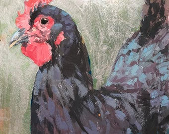 Chicken Head #6 - original painting by Andrew Daniel