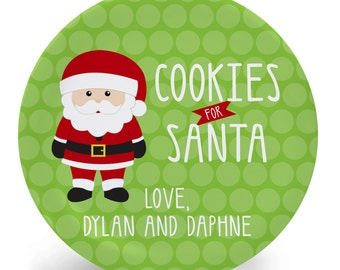 Cookies for Santa Love Us - Personalized Christmas Melamine Plate (Plastic)
