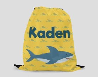 Shark Drawstring Backpack - Personalized Swim Bag - Sports Bag - Beach Bag - Pool Bag