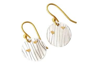 Gold Hearts on Silver lines Earrings, disc earrings, wife earrings, daughter earrings, teenage earrings, romanza jewelry, birthday earrings