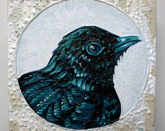 Turquoise Bird ORIGINAL Acrylic Painting Small Art