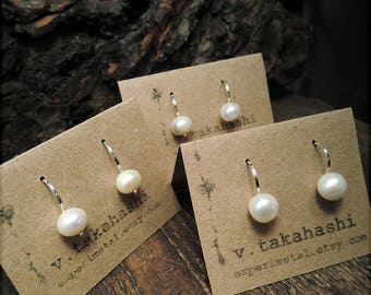 E1534 Simply Freshwater Pearl earrings - white