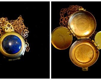 Vintage 4 Picture Locket Necklace - Lapis Lazuli