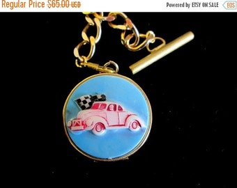 ON SALE Vintage Racing Car Locket Fob