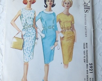 Vintage 1961 McCalls 5921 Sewing Pattern Womens Dress with Detachable Collar, Size 14 Bust 34