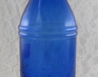 Vintage Cobalt Blue Glass Signet Ink Russia Cement Co. LePages Glue Large Master Ink Bottle