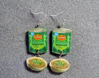 Green Bean Casserole Thanksgiving Kitsch Dangle Junk Food Polymer Clay Earrings Hypo Allergenic Nickle-Free