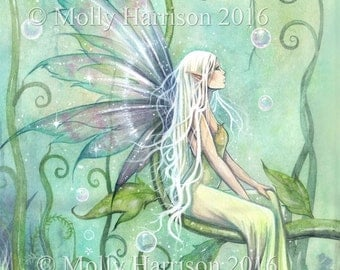 Fairy Art - Meditation - Original Watercolor and Mixed Media Painting by Molly Harrison - Fantasy, Fairy, Fairies, Faery, Artwork
