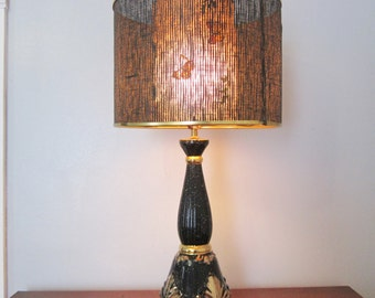 Mid Century Lamp with Shade Vintage Black Gold Table Lamp 50's 60s Two Layer Fiberglass Butterfly Shade