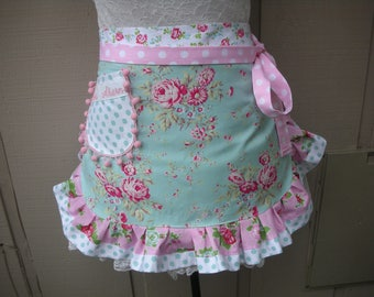 Womens Pink Aprons - Turquoise Aprons - Cabbage Rose Aprons - Annies Attic Aprons - Pink Ruffled Aprons - Cottage Chic Aprons - Etsy Aprons