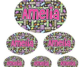 Kids Waterproof Labels | Kids Name Labels | Camp Graffiti Labels | Peel and Stick Waterproof Labels | Kids Labels for Camp Stuff