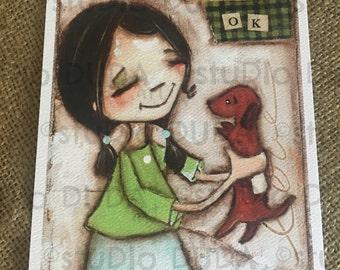 New!  STUDIO DUDA ART mini print/frameable greeting card on velvety bright paper - Ok - 5x7 print