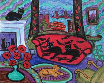 ORIGINAL PAINTING, Black Kitties with Cable Car and Poppies, Frisco, Yellow Lab, Rare  Red Winged Blackbird Couch, by DM Laughlin