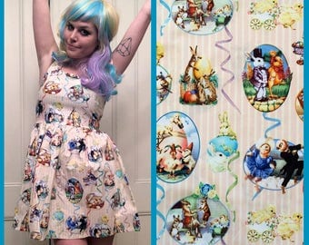 Easter Scenes Bunny Rabbit Tank Top Party Dress MADE TO ORDER