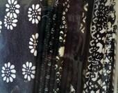 Vintage Scrap Most Silk Grab Bag, Japanese Silk Kimono Fabric, Set of 23 Black Mix Craft Supply