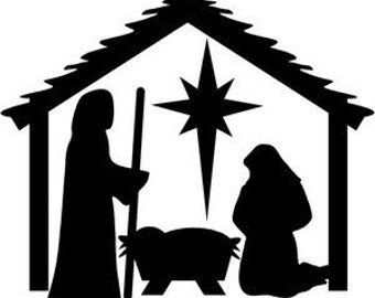 Manger wall decal, vinyl decal, christmas decor, religious