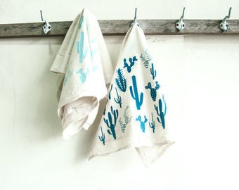 Set of 2 Dishtowels- Turquoise Cactus Print