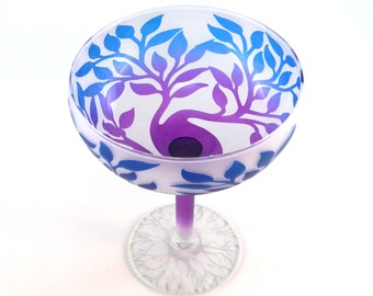 Tree of Life Margarita Glass - Frosted and Painted Glassware - Custom Made to Order