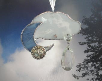 "Moon and Cloud Sun Catcher, Glass Sculpture, Home Decor, Vintage Jewels, Mobile, Stars, Man in the Moon,  Mobile, Ornament, ""Moon Catcher"""