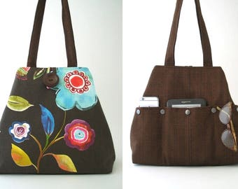 floral handbag, floral bag, vegan bag, fabric handbags, shoulder bag, hobo bag, womens handbag, diaper bag, tote with pockets, ready to ship