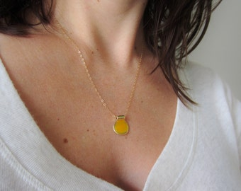 Layering necklace, tiny yellow pendant necklace, gold necklace, circle pendant, simple necklace, mustard jewelry, boho jewelry drop necklace