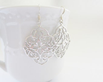 Gold filigrees, Moroccan earrings, silver filigrees, small filigree earrings silver laser cut earrings small silver dangle earrings delicate