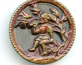 "Victorian Metal Picture Button Large ""The Little Charmer"" Original Red Tint 1 1/4"" Antique 3512"