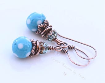 Polka Dot Earrings Turquoise Blue Polka Dot Earrings Copper Earrings Czech Glass Beads Retro Style