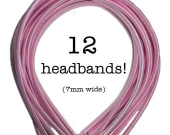 12 Light Pink satin headbands - skinny satin headbands in BULK