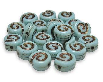 Czech Glass Beads 9mm Bronze Washed Opaque Sky Blue Jelly Roll Beads 20pcs (2267) Pressed Czech Beads