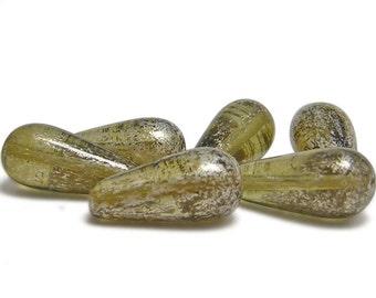 Teardrop Beads - Czech Drop - Czech Beads - Glass Beads - Champagne Mercury - 19x9 Teardrops - Picasso Beads - 6pcs (4672)