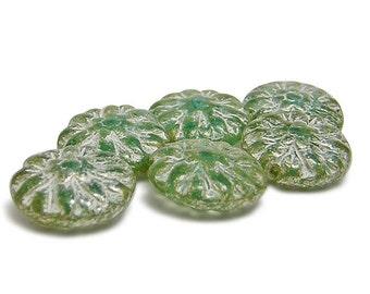 6pcs - 14mm - Flower Beads - Czech Picasso Beads - Czech Dahlia Beads - Czech Beads - Dahlia Flower - Czech Glass Beads (B186)