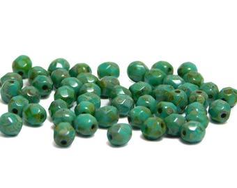Czech Fire Polished Beads - 4mm Fire Polished - Czech Glass Beads - Round Beads - Turquoise Picasso - Czech Beads - 50pcs (289)