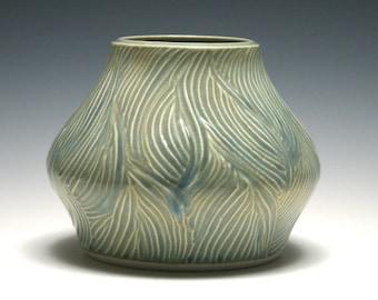 Pottery Vase, Wood Grain Carving, Ocean Blue Glaze, Home Decor, Handmade Pottery, Blue Ceramic Vase