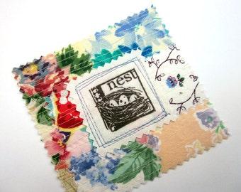 Fabric Patch, Quilt Block, Applique - Bird Nest
