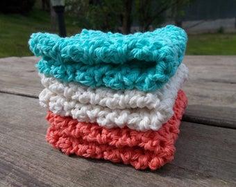 Dishcloths Washcloths Facecloths-Hand Corchet Set of 3-Ocean Stack